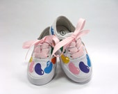 Girls Candy Shoes, Hand Painted Canvas Sneakers, Baby and Toddlers, Custom Birthday Party or Easter Shoes