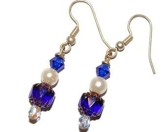 Navy Pearl Gold Beaded Earring