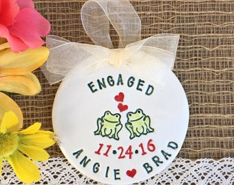 Engagement Gift Ornament - Frog Couple Engagement Ornament, Wedding Ornament, Personalized Ornament
