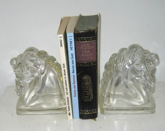 horse head bookends . glass bookends . glass horse heads . vintage bookends