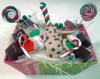 """18"""" Doll Christmas Goodies Gift Box - 18 inch doll food, brownies, cookies, candy, Holiday suckers 1:3 scale"""