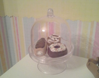 """18"""" Doll Donuts in display stand- 18 inch doll food cinnamon roll, filled stick, doughnut 1:3 scale"""