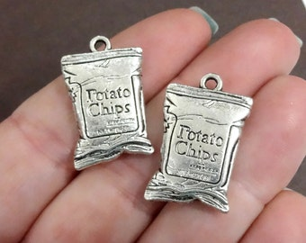 2, Potato Chip, Snack Food Charms, Pendants (3D) Charms 25x15mm ITEM:BW16