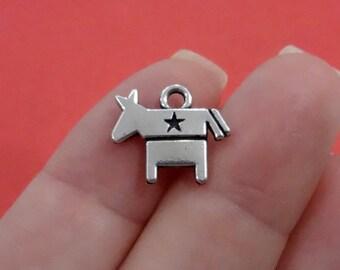 4, Donkey, Democratic, Democrat, Symbol, Election Charms 15x13mm