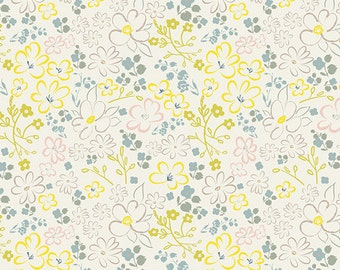 yellow floral quilting fabric, heartland by pat bravo, art gallery fabrics, liten ditsy whisper, fabric by the yard yardage, quilting fabric