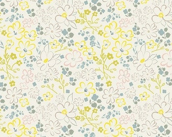 heartland by pat bravo / art gallery fabrics / liten ditsy whisper / fabric by the yard yardage / yellow floral / quilting fabric / nursery