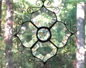 Stained Glass Suncatcher - Clear Beveled Victorian Flower & Wire Curls (Great Gift or Wedding Present!)