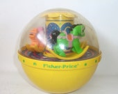 Vintage Fisher Price Musical Roly Poly Chime Ball Baby Toy for Children