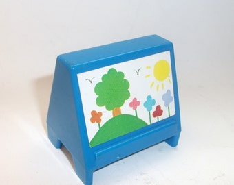 Vintage Fisher Price School Easel Little People Toy Nursery School  #929 Blue Art Drawing Easel