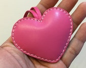 Small size - Love Heart cowhide leather charm ( Fuschia )