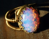 Steampunk Jewelry - Ring - Vintage Fire OPAL glass ( Size 9 US - Ready to ship )