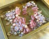 Vintage Corsage Brooch Pink Silk Flowers Set of 4 Felicitas Kreutzer in Box elegant wedding prom