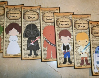 STAR WARS inspired  Bookmarks - Set of 7 Laminated Bookmarks - Personalized - SW 110