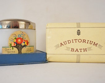 Vintage Vanity Items Cara Nome Cold Cream Jar and 3 Cakes of Auditorium Bath Soap