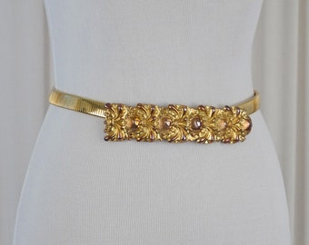 Vintage Metal Goldtone Stretch Belt
