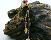 Vintage Lilac Celtic Gold Bajoran Chain Ear Cuff Earring, Boho Ear Jacket Climber, Gift For Her