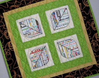 LEAVES OF FOUR Selvage Mini Quilt Perfect Gift from Quilts by Elena Selvages
