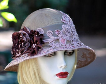 Summer Floral Cloche Hat for Wedding Special Occasion in Pale Pink Ivory Lace Flowers Size Small
