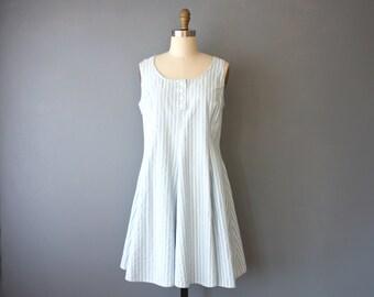 vintage 90s dress / striped mini dress / tent dress / sz 12