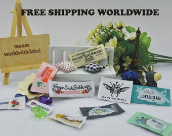500 Custom Artwork Damask Clothing Woven Labels free font styles colors never fade - professional quality free design service and shipping