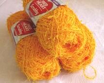 Bright Yellow Orange Red Heart Scrubby yarn, DUCKIE, worsted weight, washcloth dishcloth polyester yarn, bath toy yarn