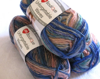 Unforgettable Waves PRAIRIE yarn, Red Heart Boutique, earth tones of sand, brown, blue, green, teal, worsted weight, variegated yarn