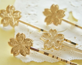 2 pcs  hair pin with Base Bezel Plate for resin  / Cherry blossom Sakura (17mm) AZ311