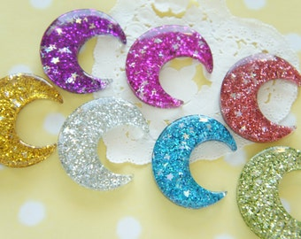 7 pcs Glitter Colorful Moon Cabochon (32mm37mm) DR541
