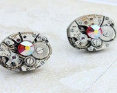 Steampunk Earrings, Vintage Watch Movement Earrings, Silver, Handmade, Wedding Earrings, Recycled, 1950's Jewelry, Industrial Jewelry