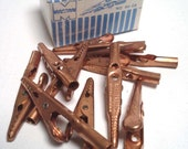 Alligator Clips, Vintage, ID Roach Clip, Bracelet Helper, Key Chain, Recipe Clip, Yarn Bead Wire Clamp, Curtain Hanger - SOLID COPPER