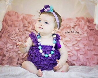 Purple Lace Romper Headband Necklace SET, Cake Smash Outfit, Lavender and Blue Petti Romper And Baby Headband, Baby Outfit, Baby Photo Prop