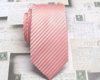 Mens Ties Coral Pink Skinny Necktie