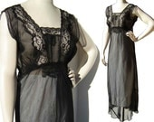 Vintage 40s Nightgown Black Lace Sheer Rayon Lingerie M