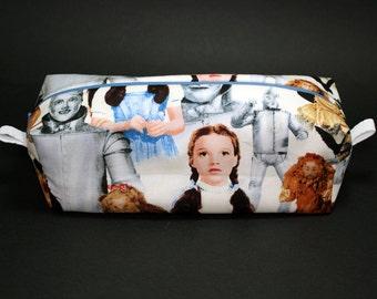 Boxy Makeup Bag - The Wizard of Oz - Follow The Yellow Brick Road Zipper - Pencil Pouch