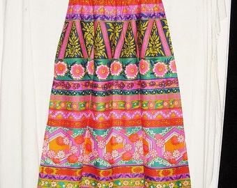 Vintage 60s 70s Mod Full Length Skirt L Elastic Waist Barkcloth Texture