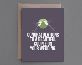 """Funny Wedding Card. Humor, Humorous. For Bride, Groom, Couple. Rude, Sarcastic. """"Sorry For Wedding Reception"""" (CSW03)"""
