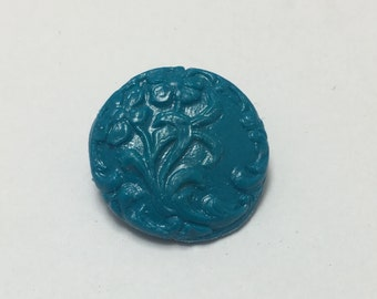Floral Scroll - Teal Blue - Hand Made Clay Button