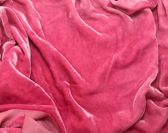 BUBBLEGUM PINK - Hand Dyed Burnout Silk Velvet 1 Yard