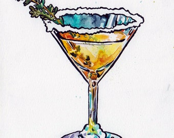 Cocktail Art - Original Watercolor and Ink Painting by Jen Tracy - Martini Glass Home Decor - Original Art of a Mixed Drink