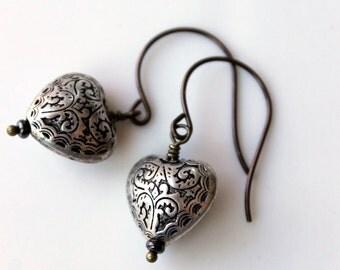 Boho Chic Heart Earrings / Silver Hearts / Lacey Heart Earrings / Bohemian Earrings / Casual and Carefree Summer Earrings / Brass Earwires