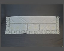 Large Vintage Embroidered Buffet or Sideboard Runner, 1920s 1930s Lace trimmed Linen Cover with Flower baskets,