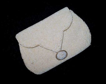 Vintage 20s 30s White Pearl Beaded Small Clutch Purse