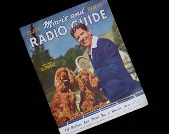 Vintage 40s Movie & Radio Guide Magazine Aug 1940 Rudy Vallee