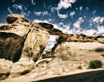Metallic Photograph Rock Bridge Jordan Wadi Rum Middle East