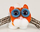 Orange and White Tabby Cat Lampwork Big Hole Bead