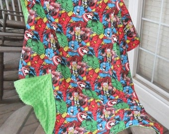 Large Marvel Retro Comic Packed and Green Minky Dot Blanket