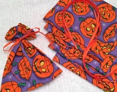 Halloween, Mini Gift Bags, Candy Bags, Ribbon Tied Pouch, Pack of 6, Cotton Fabric Pouches, Birthday Party Favor Bags, Jack O Lantern