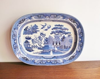 Vintage XL Blue Willow serving platter, blue and white chinoiserie