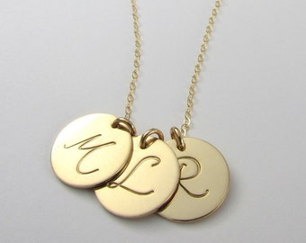 Custom Gold Letter Necklace, Script Initial Charm, 14K Gold Filled, Pick Your Charms, E. Ria Designs