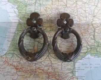 SALE! 2 vintage open oval metal handles
